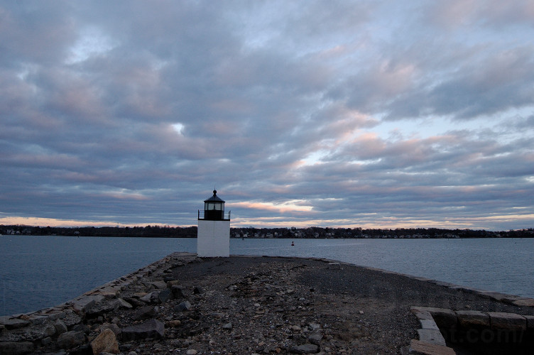 Derby Wharf lighthouse, ocean and clouds in Salem, Mass (photo by Gabriel L. Daniels)