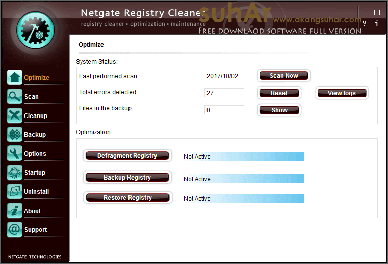 Free download software utilities NETGATE Registry Cleaner 17 Full serial number terbaru gratis crack keygen patch license key activation code latest version www.akangsuhar.com