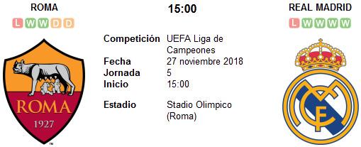 Roma vs Real Madrid en VIVO