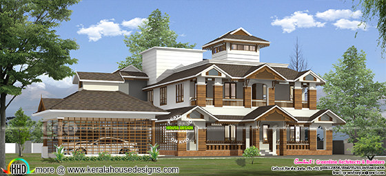 Traditional style sloping roof 4 bedroom home 305 square meter