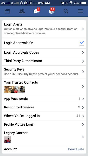 Security setting facebook