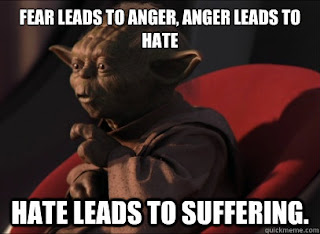 Star Wars Yoda: Fear leads to anger, anger leads to hate, hate leads to suffering.