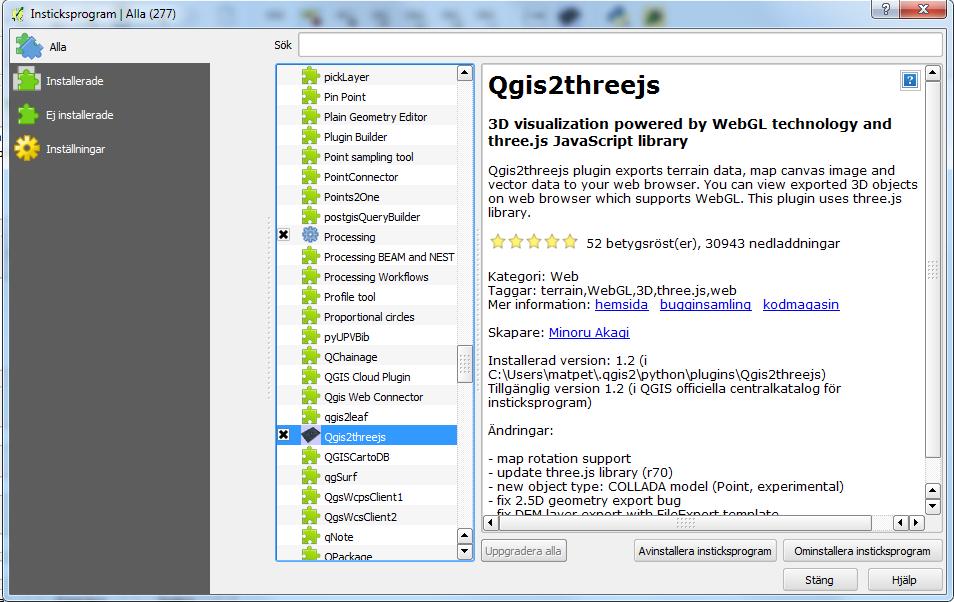 Gistester: 3D vizualization in QGIS with three js javascript