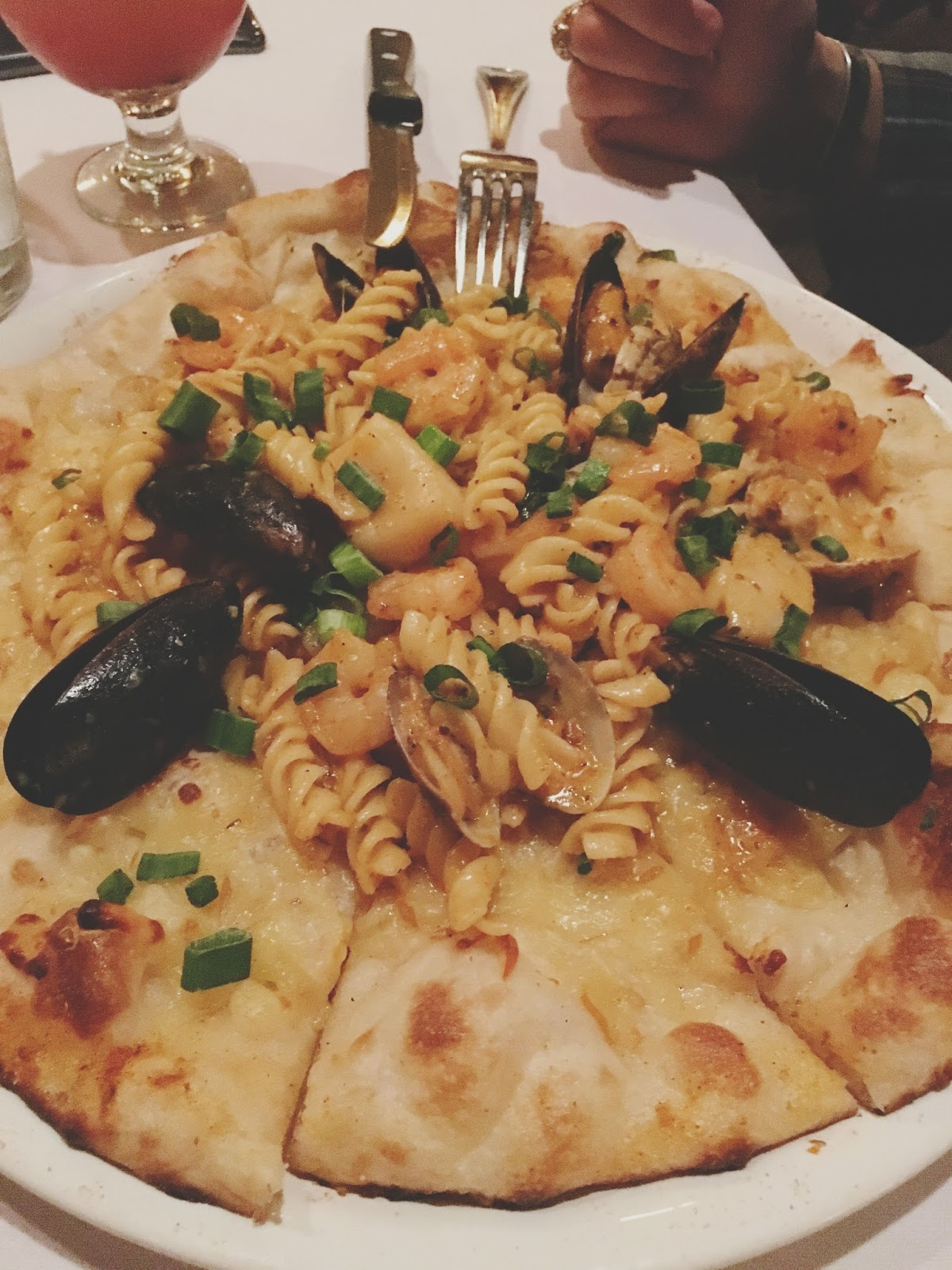 seafood pizza at The Union Kitchen, a restaurant in Houston