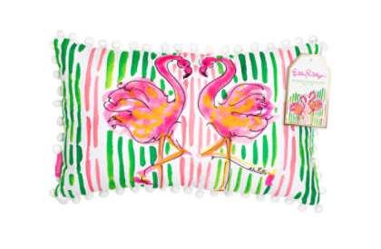 lilly pulitzer medium indoor outdoor pillow multi flamingo 5x5