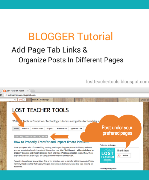 Blogger Tutorial - Add Page Tab Links & Organize Posts in Different Pages