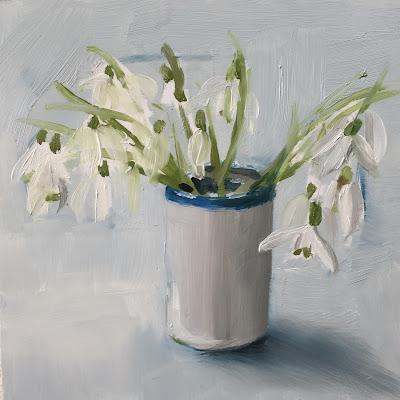 Snowdrops oil painting by Philine van der Vegte