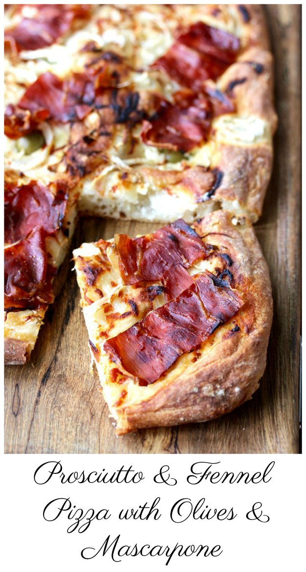 Prosciutto and Fennel Pizza with Olives and Mascarpone