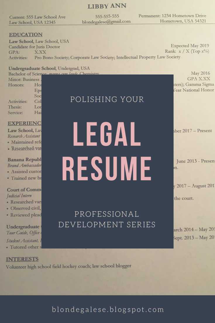 blondegalese  polishing your legal resume