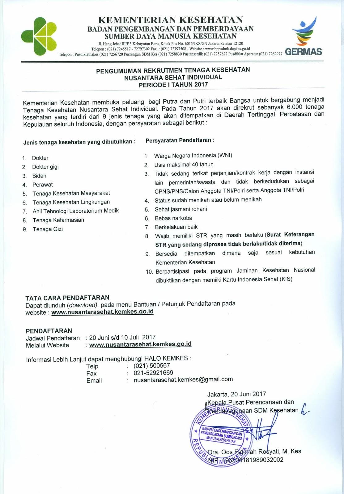 Lowongan Pekerjaan: Rekrutmen Tenaga Kesehatan Nusantara Periode 1 2017