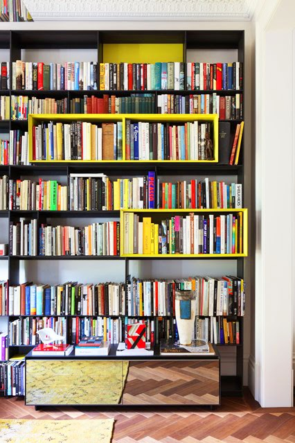Bibliotheque couleur decoration