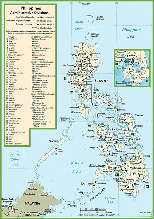 Map of Administrative Divisions and Political Map of the Philippines