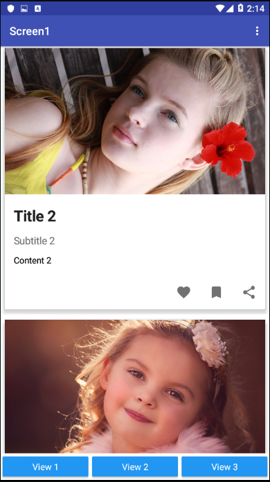 Use Card view extension to three type lets try your self in