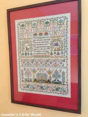 Finished Moira Blackburn cross stitch sampler