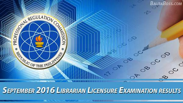 Librarian September 2016 Board Exam Results