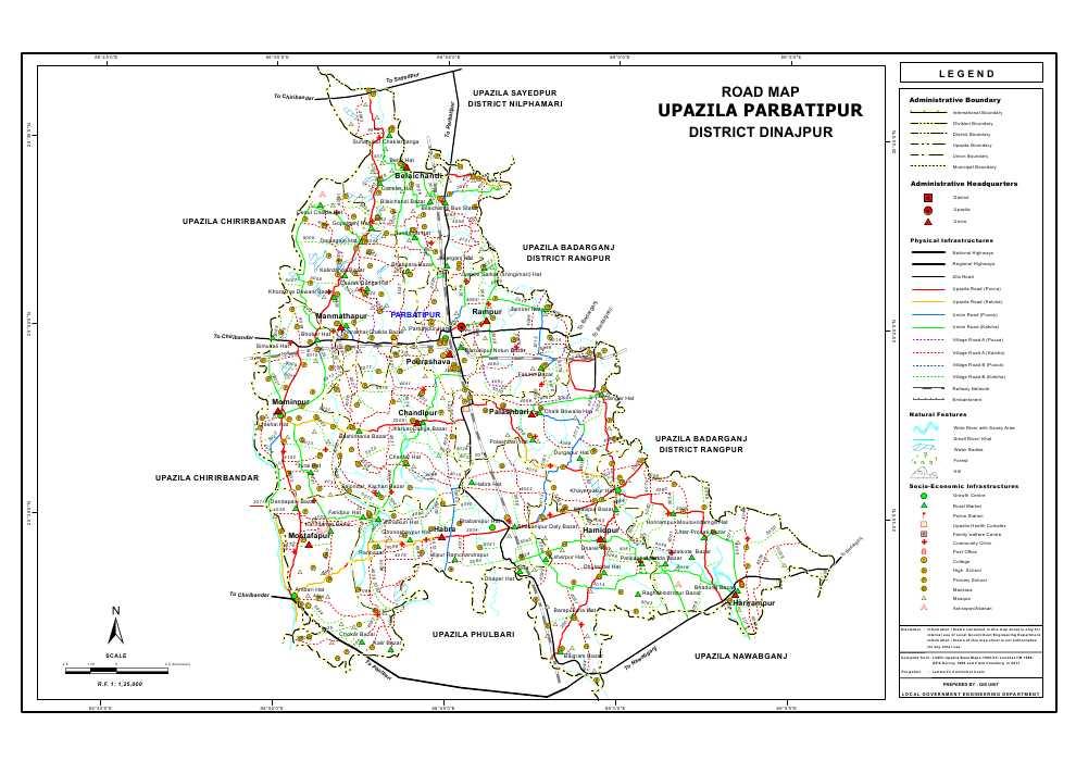 Parbatipur Upazila Road Map Dinajpur District Bangladesh