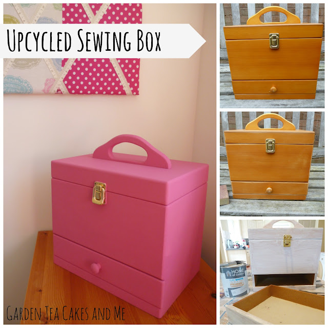 Upcycled wooden sewing box perfect craft room recycle Pink pop of color