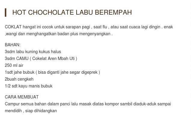 Kreasi Coklat Aren Mbah Uti Hot Chocholate Labu Berempah