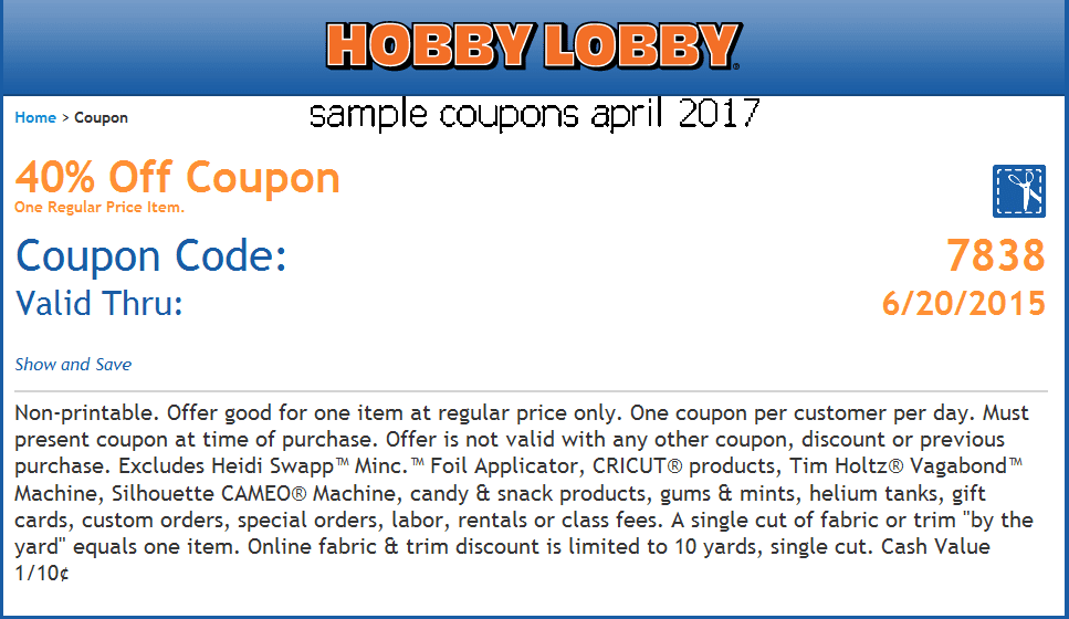 Hobby lobby coupon code april 2018