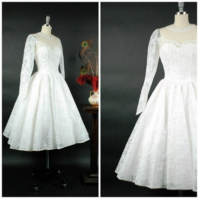 Two views of white chantilly lace tea length wedding dress from the 1950's