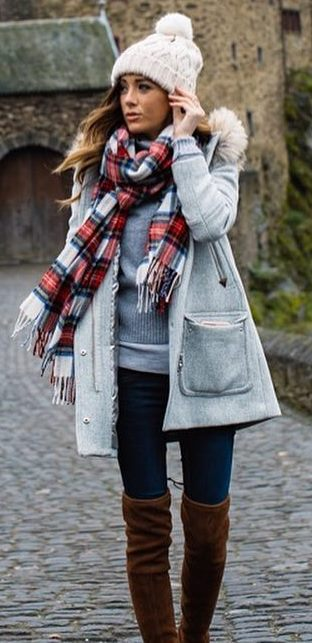 winter fashion trends / grey parka + knit hat + palid scarf + skinnies + brown over knee boots