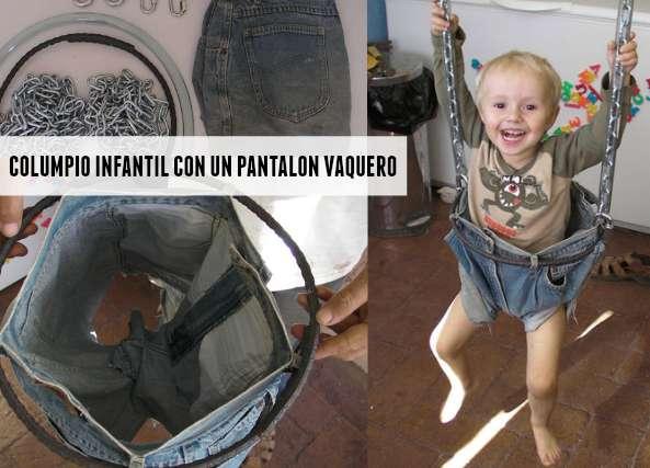Columpio infantil con un pantalon vaquero