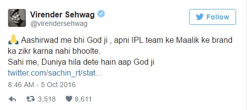 Virender Sehwag Tweet to Sachin