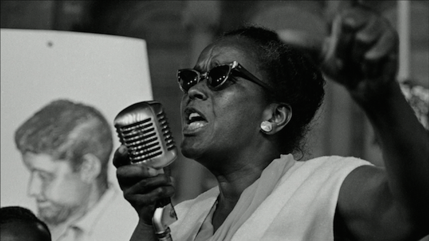 Ella Josephine Baker, an African-American civil rights and human rights activist, speaking at an event