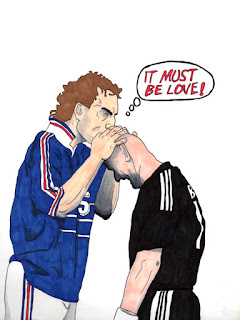 Laurent Blanc y Fabien Barthez