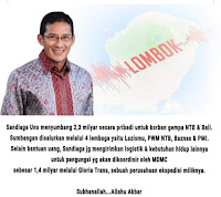 <b>Diam Diam Sumbang Rp3,7 Milyar, Sandiaga Uno Hari Ini Akan Menyapa Korban Gempa Lombok</b>