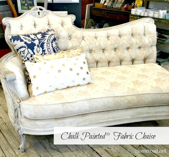 Glamorous Chalk Painted® Fabric Chaise www.homeroad.net