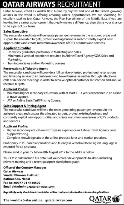 Career Opportunities - Qatar Airways   Jobs in Nepal