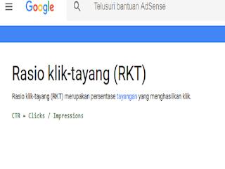 Gambar bantuan google adsense tentang RKT