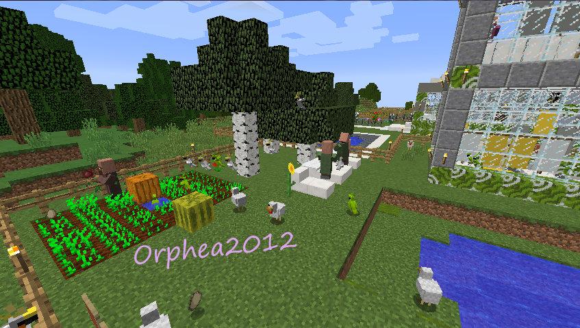 jardin minecraft Minecraft - Une famille profitant du jardin le dimanche après midi