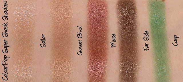 ColourPop Super Shock Shadows - Sailor, Sunset Blvd, Muse, Far Side and Cusp Swatches & Review