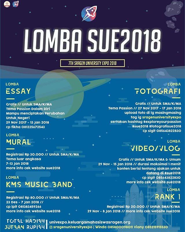 Event Lomba SUE2018 7th Sragen University Expo Untuk SMA Sederajat & Umum