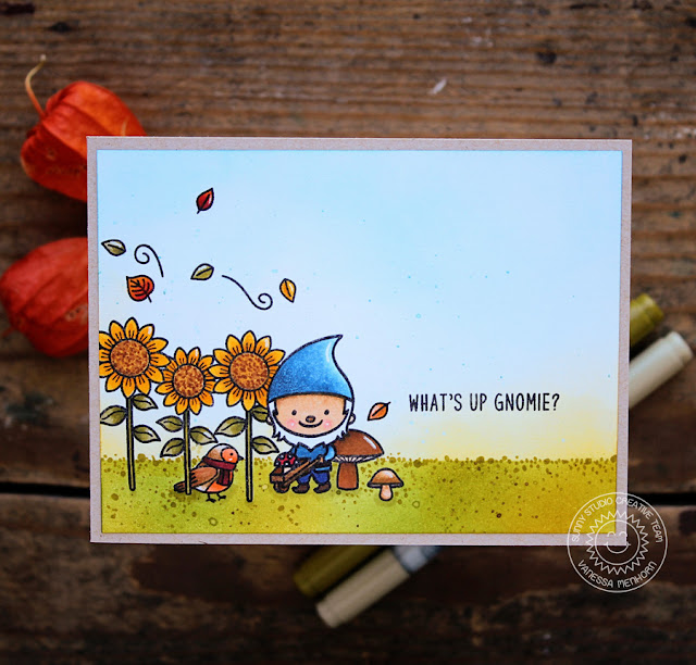 Sunny Studio Stamps: Home Sweet Gnome One Layer Masking Technique Fall Themed Card by Vanessa Menhorn