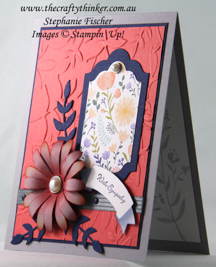 Layered Leaves Embossing Folder, Sympathy Card, Daisy Punch, #thecraftythinker, Stampin Up Australia Demonstrator, Sydney NSW