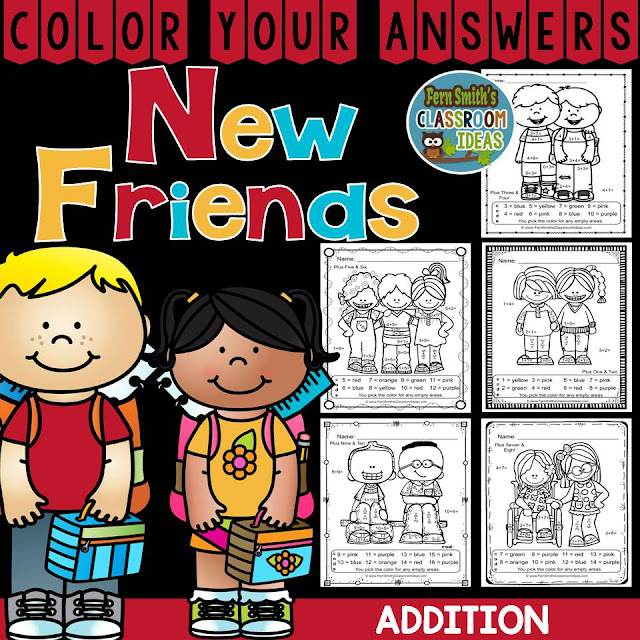 Fern SMith's Classroom Ideas Make New Friends Color Your Answers Addition!