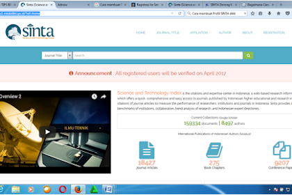 Cara Registrasi Ke Scince and Technology Index (SINTA)