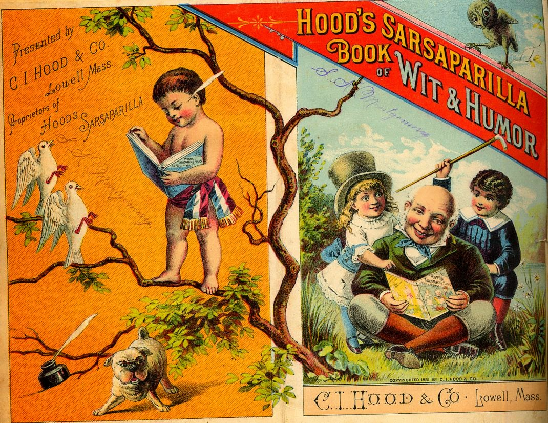left: child standing on branch reading book, right: smiling old man seated cross-legged reading to girl with top hat and boy with cane raised in triumphant manner