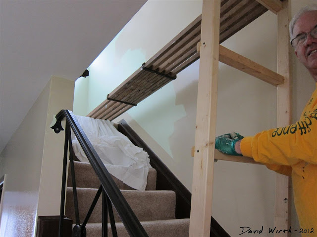 wood ladder, wood platform, paint stairs, house, how to
