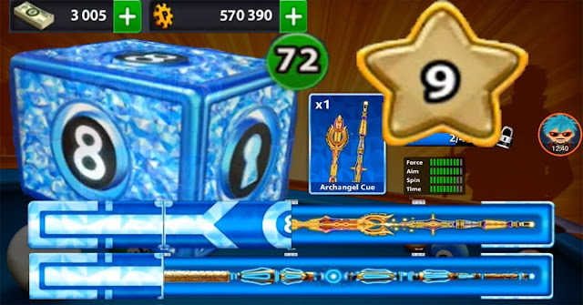 8 ball pool 72 Legendary Box level 9 cash 3005 cue 17