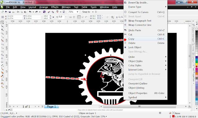 Clique na Pick Tool, depois no círculo, para redimensionar ele, e segure o Shift! E vai Puxando o círculo até ele encaixar na roda da engrenagem!  Com a ajuda das setas do teclado você vai posicionar o círculo.  Se conseguir fazer direto sem precisar desses detalhes melhor.  Clique no círculo e duplique ele. Assim,  clica nele, depois use o Ctrl+C, Ctrl+V.  Ou...  Clica nele com o botão direito...  Copia.
