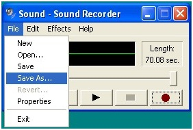 Merekam suara (lagu) menggunakan Sound Recorder
