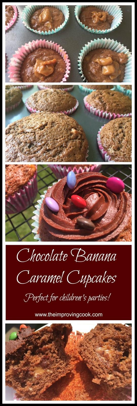 Chocolate Banana Caramel Cupcakes collage