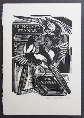 Wood engraving, bookplate, Emil Kotrba