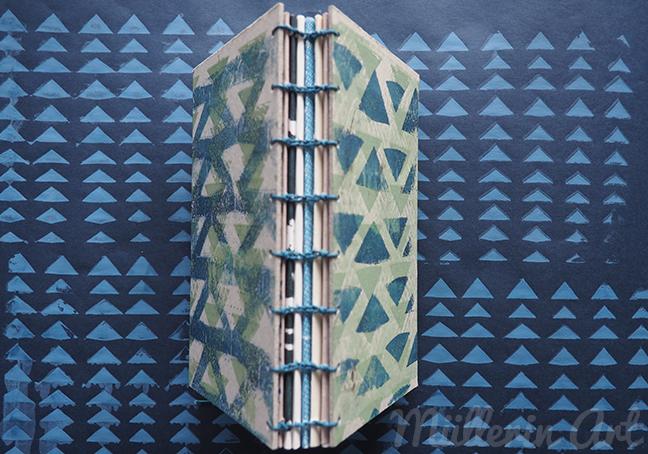 Buch koptische Bindung, Siebdruck, Gelliprint, Dreiecksmuster ©müllerinart