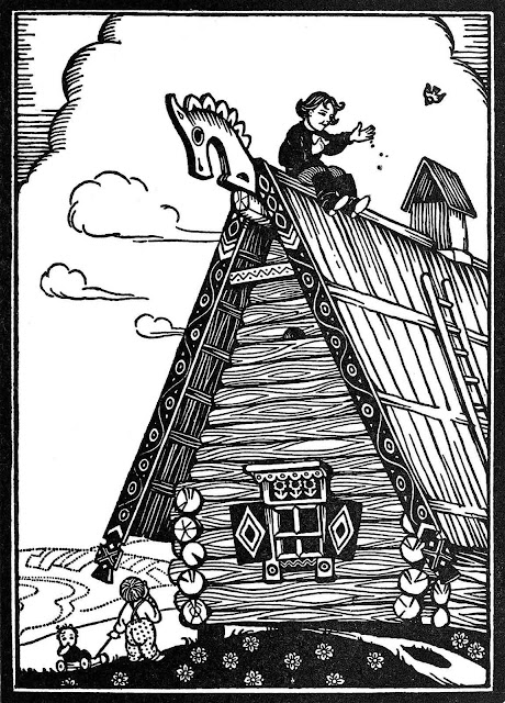 a Boris Artzybasheff illustration in black and white, of a boy on the roof of his house feeding birds