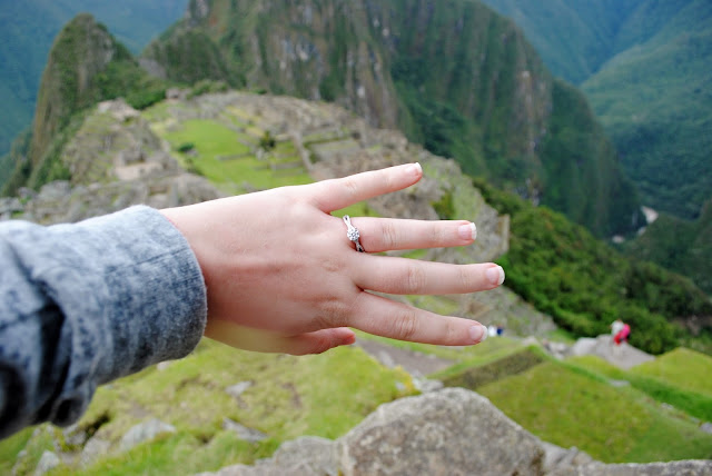 diamond engagement ring after a proposal on machu picchu